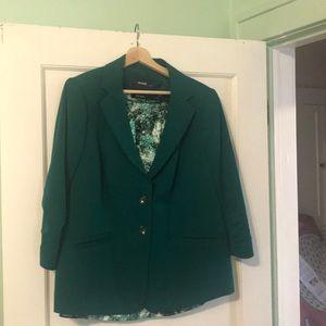 Eloquii dark green blazer with coordinating shell